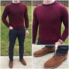 Red sweater, white patterned shirt, navy chinos or jeans, brown or suede shoes.