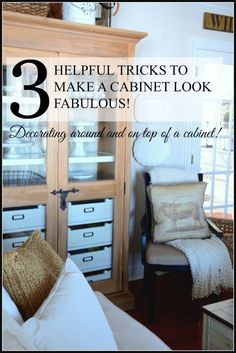 3 HELPFUL TIPS TO MAKE A CABINET LOOK FABULOUS-easy-tips-to-decorate-around-a-cabinet stonegableblog.com
