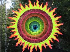 #psygarden FLOWER OF LIFE psydeco psychedelic decor psytrance festival fluoro