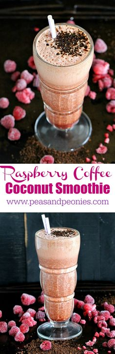 Raspberry Coffee Smoothie made with delicious chilled coffee, frozen raspberries and creamy coconut milk, is the perfect pick me up treat. #ad #folgers
