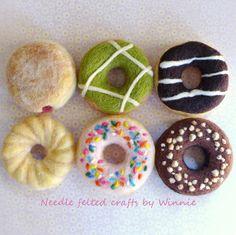 Needle felted set of 6 assorted donuts handmade OOAK fun food wool sculpture by FunFeltByWinnie on Etsy