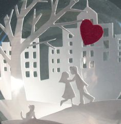 Young Lovers with a Red Heart Balloon Paper Cut Scene