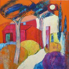 """""""Un chemin jusqu'à la lune"""" Peinture de l'artiste contemporain De Fremont"""