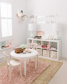 Nesting is no joke! I've been redecorating and organizing for weeks ha. This is our old playroom and can't wait to show you our new… Toddler Room Decor, Toddler Playroom, Toddler Rooms, Playroom Ideas, Little Girls Playroom, Little Girl Rooms, Big Girl Bedrooms, Girls Bedroom, Bedroom Ideas