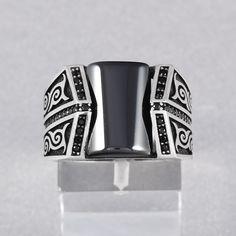 Oriental Style Handmade Men's Ring Black Onyx 925 Sterling Silver Size 7.5 - 12   Jewelry & Watches, Men's Jewelry, Rings   eBay!