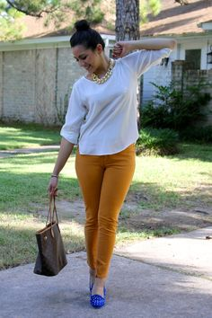 transition into fall .  love mustard yellow pants <3