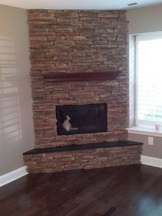 Miraculous Unique Ideas: Wood Burning Fireplace Hearth fireplace decorations non working.Old Fireplace Farm House fireplace with tv style.Fireplace With Tv Style. Corner Stone Fireplace, Brick Fireplace Wall, Propane Fireplace, Fireplace Seating, Double Sided Fireplace, Concrete Fireplace, Fireplace Remodel, Modern Fireplace, Fireplace Surrounds