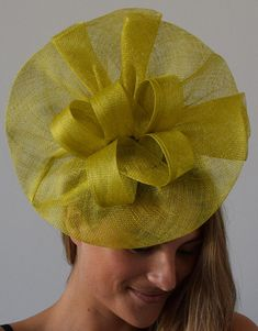 Tia Big Lime Green/Yellow Kentucky Derby Fascinator,Royal Wedding Hat, – The Headwear Boutique Black Fascinator, Fascinator Headband, Fascinators, Sinamay Hats, Kentucky Derby Fascinator, Kentucky Derby Hats, Races Fashion, Fashion Hats, Fashion Scarves