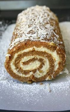 Apple Cake Roll is a moist spiced apple cake rolled in coconut, powdered sugar and pecans and filled with a sweetened cream cheese mixture. Cake Roll Recipes, Cupcake Recipes, Cupcake Cakes, Dessert Recipes, Köstliche Desserts, Delicious Desserts, Plated Desserts, Apple Recipes, Baking Recipes
