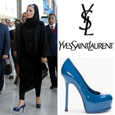 Sheikha Mozah was rocking pair of Yves Saint Laurent Tribtoo patent leather blue pumps with 140 mm /5.5 inches heels. It was a bold choice to wear such a statement shoes with traditional black abaya. I suppose she wanted to add some color into her all black ensemble, of course the diamond headband added more bling into the look. #YvesSaintLaurent #SaintLaurent #Tribtoo #SheikhaMozah #Pumps #Couture #HauteCouture #Fashion #Style #RoyalFamily #YSL #BestDressed #Glamour #SheikhaMoza…