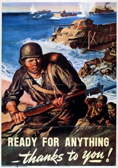 """Ready for Anything—thanks to you!"", a World War II propaganda poster"