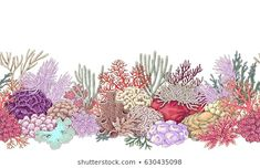 Illustration about Hand drawn underwater natural elements. Vivid line seamless pattern on white background. Illustration of oceanarium, diving, life - 91612500 Arte Coral, Coral Reef Drawing, Coral Reef Art, Coral Reefs, Dibujos Tattoo, Underwater Painting, Coral Pattern, Coastal Wall Art, Ocean Creatures