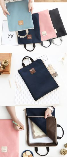 The Bonheur Constant Document Tote, an elegant way to carry your documents! It's designed to carry your documents, files, notebook, and many others in a stylish tote bag! The bag is cute, light, and makes it easy to carry your document with the handle and L-shape zipper opening!