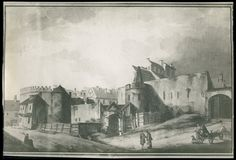 """Akwarela Zygmunta Vogla z 1785 r. pt. """"Widok Barbakanu i wejścia do mięsnych jatek"""", źródło: Biblioteka Narodowa"""