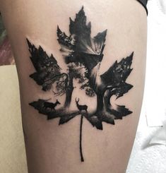 awesome double exposure leaf tattoo © tattoo artist Martin Kelly 📌💗🍁💗🍁💗🍁💗🍁💗📌 The post Beautiful Surrealist Double-Exposure Tattoos Mash Up People, Architecture & Nature appeared first on Garden ideas - Tattoos And Body Art Mini Tattoos, Body Art Tattoos, New Tattoos, Small Tattoos, Sleeve Tattoos, Cross Tattoos, Quote Tattoos, Tattoo Sleeves, Finger Tattoos
