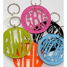 Acrylic Monogram Keychain | Preppy Monogrammed Gifts | Invite Cottage