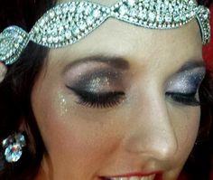 Glitter Gatsby fabulous smokey eyes for Christmas boudoir photos for POUT sesson. Makeup Let's Face It Makeup Studio/Ashlee Rice
