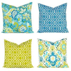 Teal Pillows, Green Pillow Covers, Decorative Throw Pillow Covers, Quatrefoil Pillows, Sofa Pillows, Teal Green, Blue Green, Turquoise
