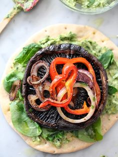 Portobello Mushroom Burger with Avocado Chimichurri   foodiecrush.com