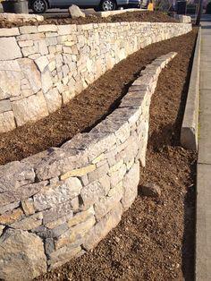by Pistils Landscape Design Concrete Block Retaining Wall, Retaining Walls, Concrete Blocks, Landscape Design, Garden Design, Lattice Garden, Nature Vs Nurture, Man Vs Nature, Soil Conservation