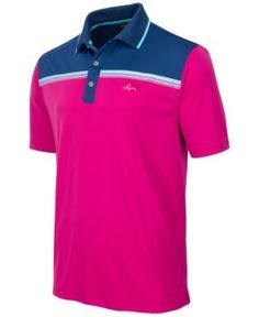Greg Norman For Tasso Elba Men's Colorblocked Performance Polo, Only at Macy's  - Pink XL