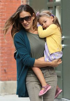 Sarah Jessica Parker and her daughter, who is wearing Appaman's Chelsea Cardigan