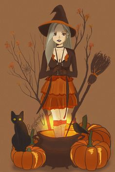 Bewitched- Beautiful Halloween Witch with her Black Cat and pumpkins and a broomstick Witch Wallpaper, Halloween Wallpaper, Halloween Art, Vintage Halloween, Halloween Witches, Happy Halloween, Halloween Decorations, Illustrations, Illustration Art