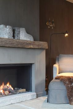 Simple fireplace surround with rustic beam mantle. Might be a bit too heavy for your room but we could modify this. Cottage Fireplace, Bedroom Fireplace, Home Fireplace, Modern Fireplace, Living Room With Fireplace, Fireplace Surrounds, Fireplace Design, Living Room Decor, Simple Fireplace
