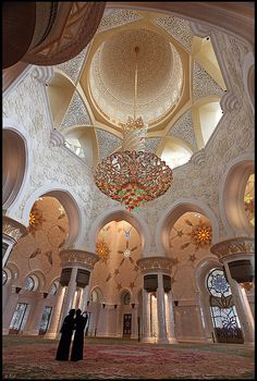 Majestic chandelier in the great dome of Sheikh Zayed Grand Mosque, Abu Dhabi by rickz, via Flickr