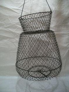 Vintage Fishing Basket, Shrimp Trap, Wire Crawfish Basket, Nautical Decoration, collapsible Wire Fishing Basket. $18.00, via Etsy.