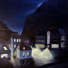 Canvas, acryllic, 50х50 cm. #norway #norge #норвегия #акрил #рисунок #scandinaviaclub #fff7 #paintings #painting #kos #bilde #hordaland #fjord #koselig #bergen #by #fjellet #night #kveld #natt #kveldlys #scandinavia
