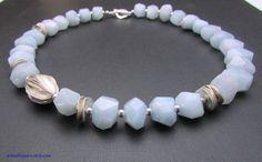 Aquamarine Necklace  Blue Aquamarine & Hill Tribe by ArtsEtBijoux, $142.50
