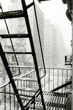 City scape through the fire escape.