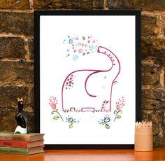 Personalised Children's Name A4 Elephant Nursery Print £19.95