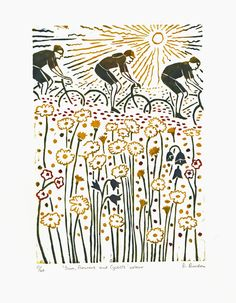 Sun, flowers and cyclists - hand-printed colour lino-print  £35.00