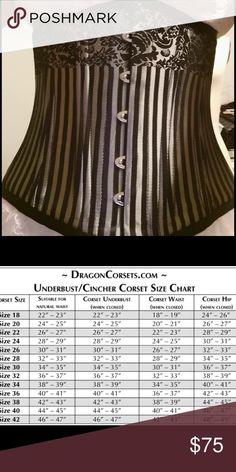 Steel-boned underbust corset Champagne and black stripes with floral designs, shoelace lacing for best fit. Size 24, see chart. No damage, has steel and plastic boning throughout. Steampunk, sexy, goth, high fashion Intimates & Sleepwear Shapewear