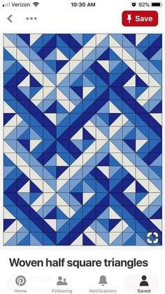 Short-cuts for making and squaring-up multiple Half Square Triangle Quilt Blocks at once. Half Square Triangle Quilts Pattern, Half Square Triangles, Square Quilt, Triangle Quilt Tutorials, Quilting Projects, Quilting Designs, Quilting Ideas, Modern Quilting, Blue Quilts