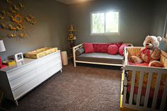 i love love love this nursery. a day bed makes so much sense than a rocker. can spend 1:1 time with baby, or 2:1 time if daddy wants to join, or just simply napping when u cant make it back to the bedroom at 3 in the morning. Love it.