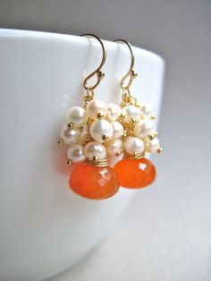 Carnelian and Freshwater Pearl Earrings in 14K Gold Fill, Handmade Orange Gemstone and Pearl Earrings. $48.00, via Etsy.