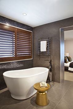 Clarendon Homes. Armadale Ensuite with stand alone bath and wooden shutters for privacy. Best Bathroom Designs, Bathroom Ideas, Clarendon Homes, Wooden Shutters, Display Homes, Grand Staircase, Beautiful Bathrooms, Clawfoot Bathtub, Master Suite
