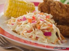 Southern Slaw from Mrfood.com put it over the black pepper pulled chicken sandwich from cookinglight.com and Yum...