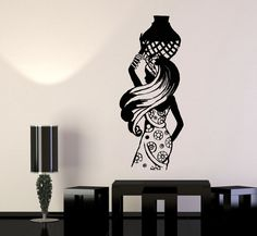 Vinyl Wall Decal African Woman Black Lady Africa Ethnic Style Stickers (1056ig) Wall Painting Decor, Diy Wall Art, Animal Wall Decals, Vinyl Wall Stickers, African Paintings, Africa Art, Mothers Day Quotes, Black Women Art, African Culture