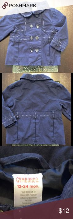 NWOT Gymboree Pea Coat Dark Blue Coat. 12-24 mo NWOT This still has the stitching over the pleats to keep it together until sold and used. Gymboree Pea Coat. Dark blue with white stitching. Size 12-24 month. Very classy look for your little one. Gymboree Jackets & Coats Pea Coats