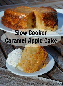 6-Ingredient Upside-Down Caramel Apple Cake | AllFreeSlowCookerRecipes.com