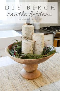 DIY Birch Candle Holders | Learn how to make these simple, inexpensive, and lovely birch candle holders from @nina_hendrick! #howtomakeweddingcandles