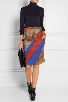 Vivienne Westwood Anglomania|Printed stretch-cotton pencil skirt|NET-A-PORTER.COM