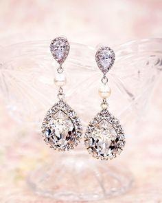 Luxe Swarovski Crystal Earrings, Silver Long Earrings with pearl, bridal jewelry, brides, wedding jewelry, bridal shower gifts, www.glitzandlove.com