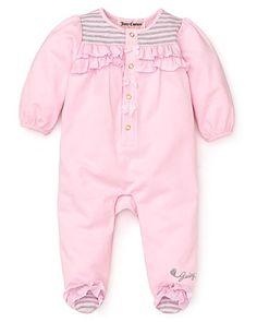 Juicy Couture Newborn Girls' Long Sleeve Ruffle Footie - Sizes 0-9 Months - Girl - Newborn (0-9 months) - BABY - Kids - Bloomingdale's