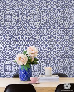 Mansion House Grille Trellis Wall Stencil Stenciled Painted