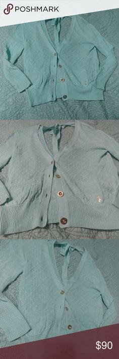 Juicy Couture open back cardigan size small Soft blue turquoise color. New without tags. Juicy Couture Tops